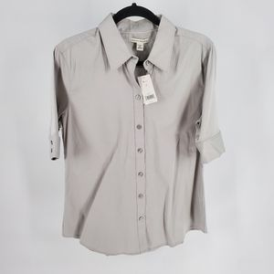 Banana Republic NWT stretch button front blouse 14